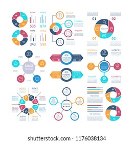 Infographic design. Pie charts and step circle diagram, text layouts bar graphs and histograms. Vector infographics set of color infochart illustration