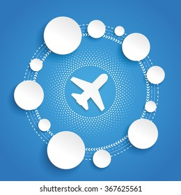 Infographic design with plane and circles on the blue background. Eps 10 vector file.