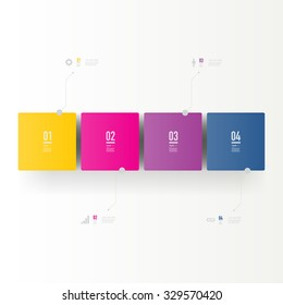 Infographic design with realistic 3d boxes on simple background with numbers and text  Eps 10 stock vector illustration