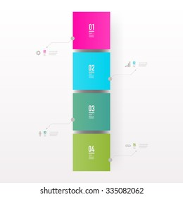 Infographic design with realistic 3d boxes on simple background with numbers and text can be used for workflow layout, diagram, chart, number options, web design.  Eps 10 vector illustration