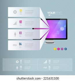 Infographic design with realistic 3d computer with colorful shiny wallpaper  can be used for workflow layout, diagram, chart, number options, web design.  Eps 10 stock vector illustration