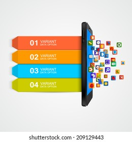 Infographic Design. Smartphone applications business concept. Vector illustration