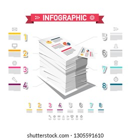 Infographic Design with Stack of Paper Vector Business Report Concept. Eight Steps Taxes Infographics Layout.
