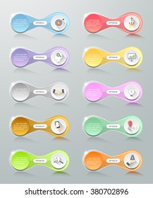 Infographic design template 10 options. Can be used for workflow layout, diagram, number, options, steps, process