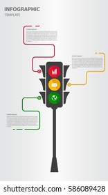 Infographic design template 3 option with traffic light