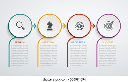 Infographic design template with 4 step structure. Business data, flowchart, pie chart with lines.