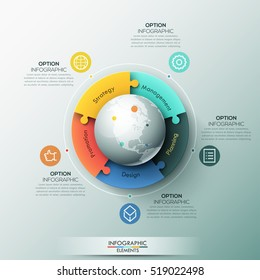 Infographic design template, 5 connected jigsaw puzzle pieces located around globe. Features of global business processes, development of multinational corporation. Vector illustration for report, ad.