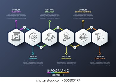 Infographic design template with 6 hexagons connected with text boxes by arrows. Organization of creative process, creation of product. Vector illustration with thin line elements for report, website.