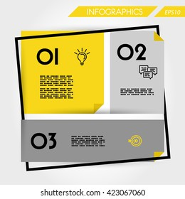 infographic design. infographic template. brochure elements. infographic elements. three infographic steps