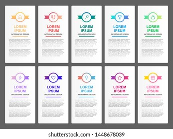 infographic design template for business 8 step with muticolor ribbon