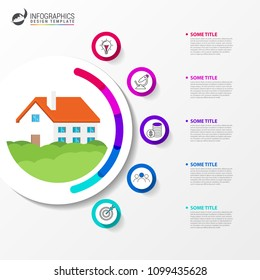 Infographic design template. business concept with house. Vector illustration