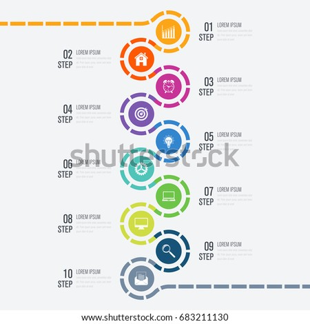 Infographic design template business concept 10 stock vector infographic design template and business concept with 10 options parts steps or processes accmission Images