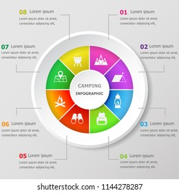 Infographic design template with camping icons, stock vector