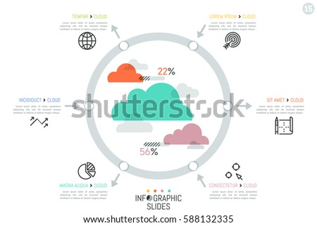 infographic design template clouds surrounded by stock vector