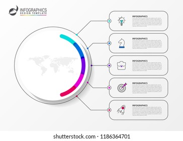 Infographic design template. Creative concept with 5 steps. Can be used for workflow layout, diagram, banner, webdesign. Vector illustration
