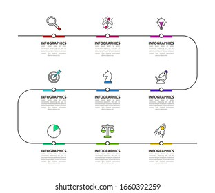 Infographic design template. Creative concept with 9 steps. Can be used for workflow layout, diagram, banner, webdesign. Vector illustration