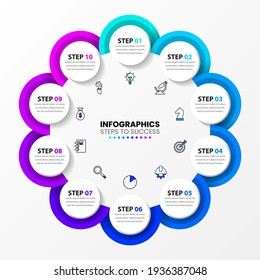 Infographic design template. Creative concept with 10 steps. Can be used for workflow layout, diagram, banner, webdesign. Vector illustration.