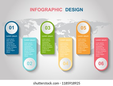 Infographic design template with elements. Can be used for business step options.