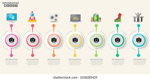 Infographic design template with frame for your text and photo, can be used for workflow layout, diagram, report, web design.