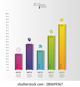Infographic design template. Hexagonal columns data. Vector