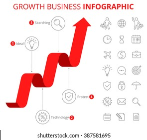 Infographic design template and isolated business icon set. Vector flat line elements. Upward red graph depict process of increase business. Illustration of growth arrow