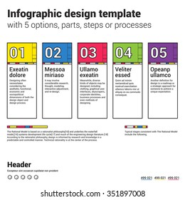 Infographic design template and marketing icons, Business concept with 5 options, parts, steps or processes. Used for workflow layout, diagram, number options, web design.