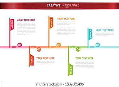 Infographic design template with numbers 5 option can be used for workflow layout, diagram, number step up options.