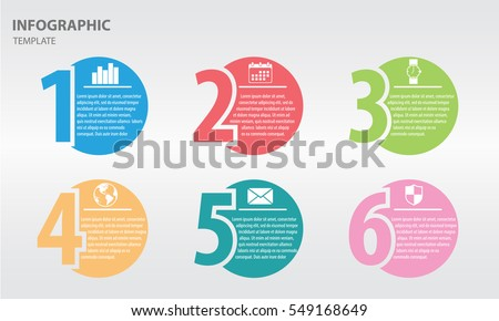 infographic design template numbers six option のベクター画像素材
