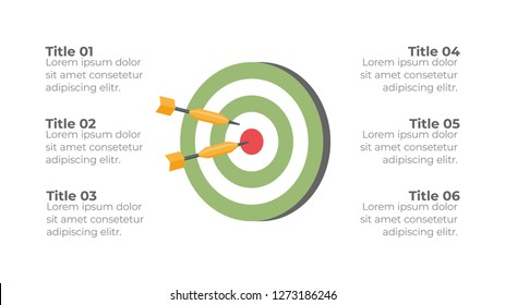 Infographic design template option, process or step with dart game flat design
