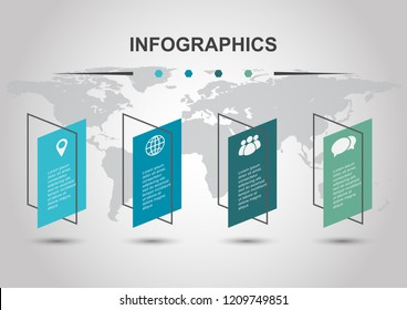 Infographic design template with shear banners, stock vector