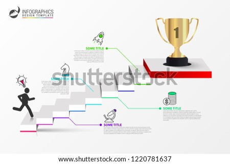 infographic design template staircase concept steps stock vector