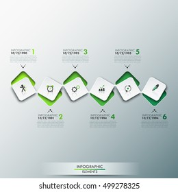 Infographic design template with timeline and 6 connected square elements in green color, company development steps. Past and future business projects. Vector illustration for presentation, brochure.