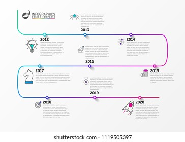 Infographic design template. Timeline concept with 9 steps. Can be used for workflow layout, diagram, banner, webdesign. Vector illustration