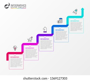 Infographic design template. Timeline concept with 5 steps. Can be used for workflow layout, diagram, banner, webdesign. Vector illustration