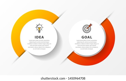 Infographic design template. Timeline concept with 2 steps. Can be used for workflow layout, diagram, banner, webdesign. Vector illustration