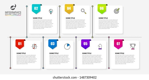 Infographic design template. Timeline concept with 7 steps. Can be used for workflow layout, diagram, banner, webdesign. Vector illustration
