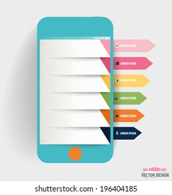 Infographic design template. Touchscreen device with colorful infographics paper template, vector illustration.