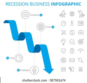 Infographic design template. Vector flat line elements. Downward blue graph  depict recession of business. Illustration of decrease arrow and isolated icon set.
