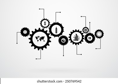 Infographic Design Template Vector With Gears And Cogs