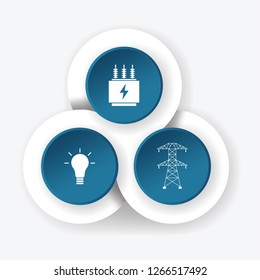Infographic design template. White power and electricity icons on dark blue background. Vector illustration