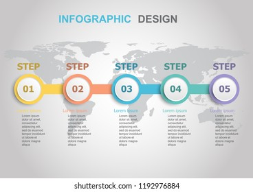 Infographic design template with workflow, stock vector