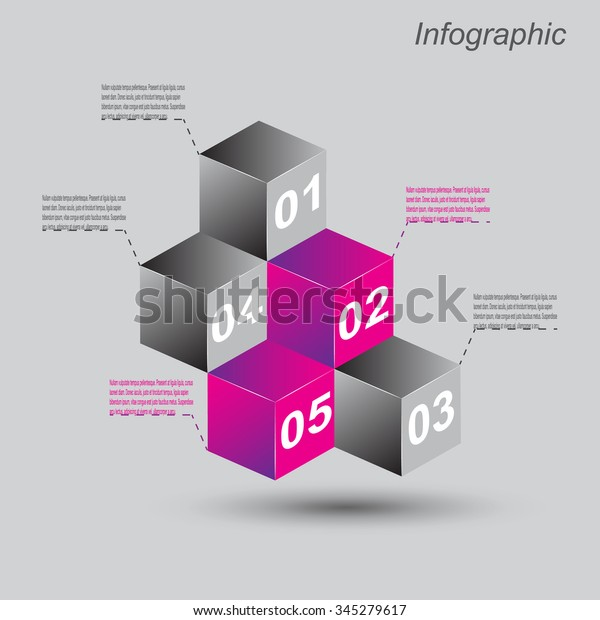 Infographic Design Templates Form 3d Box Stock Vector