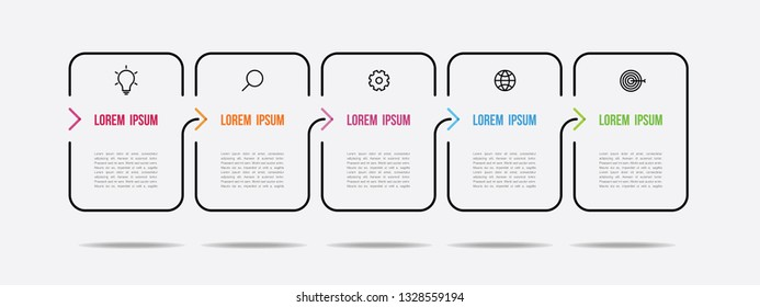 infographic  design with thin color  arrow 5 steps
