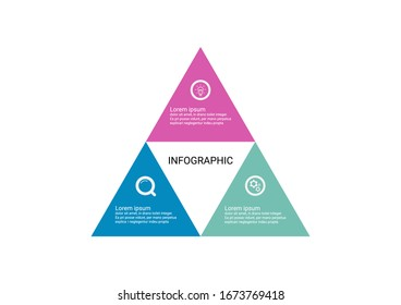 Infographic design triangles joined together to create a pyramid 3 point banner. Use workflow layout, diagram, business step options, banner, web design.