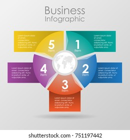 Infographic design for use in marketing for the layout of the workflow, presentation, diagram, annual report, web design. A circular, cyclic business concept with 5 options, steps or processes.