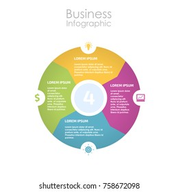 Infographic design for use in marketing for the layout of the workflow, presentation, diagram, annual report, web design. A circular, cyclic business concept with 4 options, steps or processes.