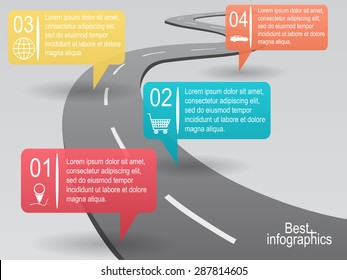 Infographic design. Vector curved road with info bubbles