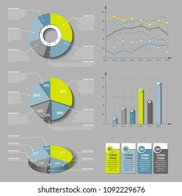 Infographic design vector and marketing icons can be used for workflow layout, diagram, annual report, web design. Business concept with options, steps or processes. Vector infographics pie 3d chart