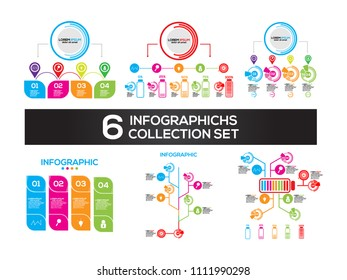 Infographic design vector and marketing icons can be used for workflow layout, diagram, annual report, web design. Business concept with 3, 4, 5, 6 and 10 options, steps or processes.
