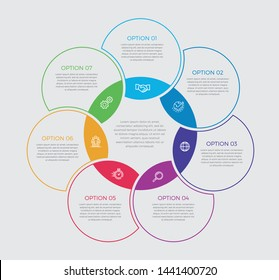 Infographic design vector and marketing icons can be used for workflow layout, diagram, annual report, web design.  Business concept with 7 options, steps or processes. - Vector